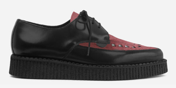 Underground Original Barfly Creeper black leather and burgundy suede shoe for men and women