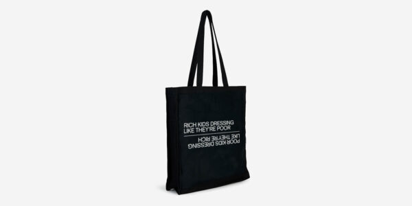 UNDERGROUND ENGLAND RICH KID POOR KID BLACK TOTE BAG FOR MEN AND WOMEN
