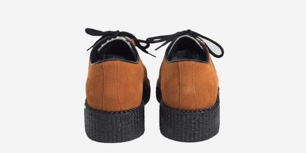 Underground Original Wulfrun Creeper orange suede and leopard print pony hair shoe for men and women