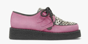 Underground Original Wulfrun Creeper pink suede and leopard print pony hair shoe for men and women
