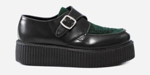 Underground Original King Tut Creeper black leather and dark green suede buckle shoe for men and women