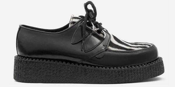 Underground Original Wulfrun Creeper black leather and zebra pony hair shoe for men and women