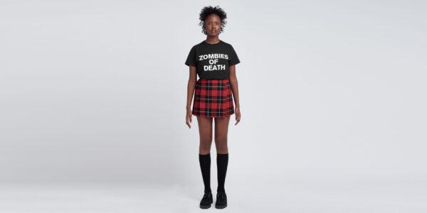 Underground England mono pleated mini skirt in Macqueen tartan for men and women