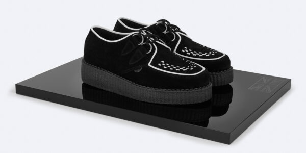 UNDERGROUND ORIGINAL WULFRUN CREEPER – BLACK STEADS SUEDE WITH WHITE INTERLACE – SHOES FOR MEN AND WOMEN