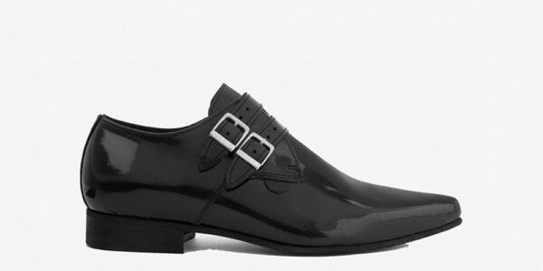 Underground England Howard Winklepicker black patent leather 2 strap shoe for men and women