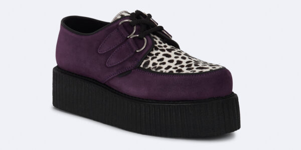 Underground Original Wulfrun Creeper purple suede leather with leopard print pony hair shoe for men and women