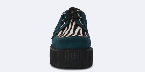 Underground Original Wulfrun Creeper teal suede leather with zebra print pony hair shoe for men and women