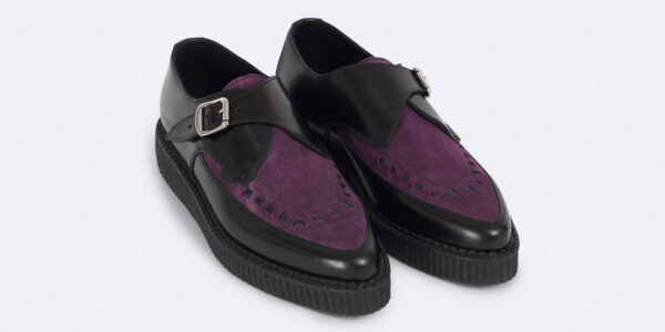 Underground Original Apollo Creeper black leather and purple suede buckle shoe for men and