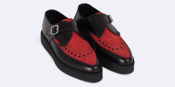 Underground Original Apollo Creeper black leather and red suede buckle shoe for men and