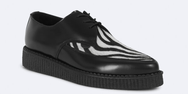Underground Original Barfly Creeper black leather with zebra print pony hair shoe for men and women
