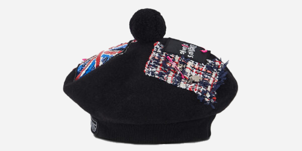 UNDERGROUND JUBILEE WOVEN PATCHES MONARCH BLACK BERET TAM HAT FOR MEN AND WOMEN