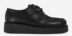 UNDERGROUND ORIGINAL WULFRUN CREEPER – BLACK LEATHER AND DARK GREEN SUEDE – SHOES FOR MEN AND WOMEN