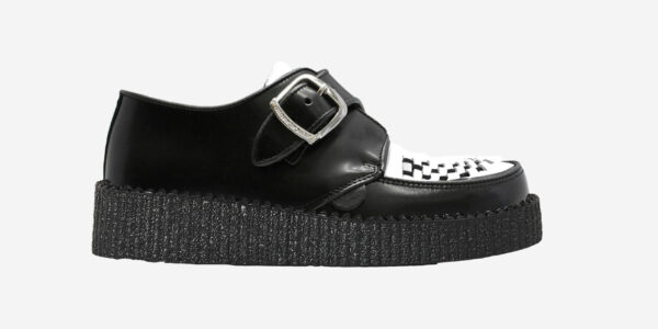 UNDERGROUND KING TUT CREEPER BUCKLE SHOE – BLACK LEATHER & WHITE LEATHER – SHOES FOR MEN AND WOMEN