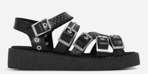 UNDERGROUND CREEPER STRAP SANDAL – BLACK LEATHER WITH SILVER STUDS – SHOES FOR MEN AND WOMEN