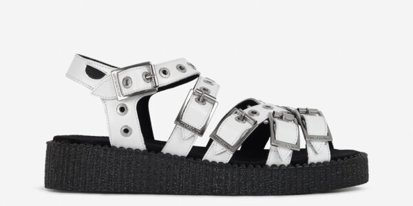 UNDERGROUND CREEPER STRAP SANDAL – WHITE LEATHER – SHOES FOR MEN AND WOMEN