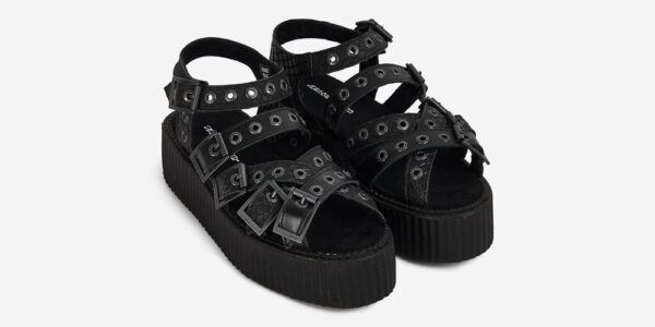 Underground Original Creeper black snake embossed leather and grain leather sandal with straps for men and women