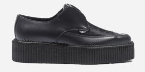 Underground Original Apollo creeper black leather and pony hair shoe with zip for men and women
