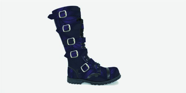 Underground Original Steel Cap Gripper purple and black spiderweb rub-off leather knee length combat boot 5 strips with buckles for men and women