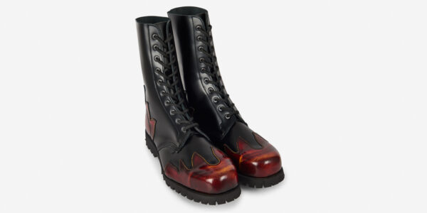 Underground Original Steel Cap Commando Black leather and rub-off sunburst combat boot for men and women