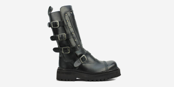 Underground England Original Steel Toe Cap Warrior black leather 4 buckle boot with leather plate for men and women
