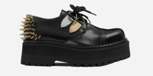 Underground England black leather steel toe cap shoe with spike detail and studs for men and women
