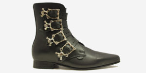Underground England Peck Winklepicker black grain leather and silver skull buckles boot for men and women