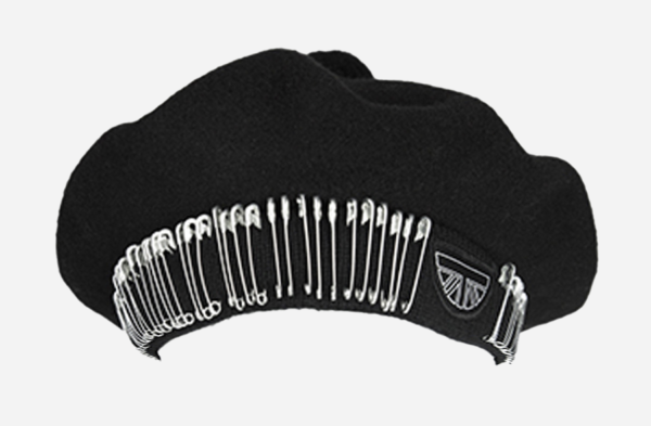 UNDERGROUND MONARCH BLACK BERET TAM HAT WITH SAFETY PINS FOR MEN AND WOMEN