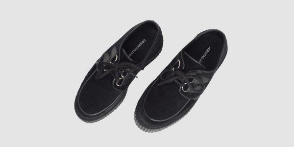 Underground Original Wulfrun Creeper black velvet shoe for men and women