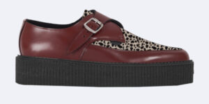 Underground Original Apollo Creeper cherry leather and natural leopard print pony hair buckle shoe for men and women