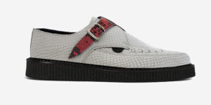 Underground Original Apollo Creeper white snake embossed leather with red pythonbuckle shoe for men and