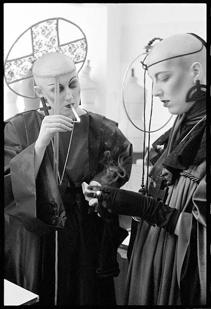 Myra Falconer (left) and Michele Clapton in looks from Stephen Linard's 1980 Neon Gothic collection Photo by Graham Smith