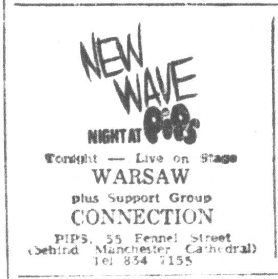 Flyer for Warsaw gig at Pips