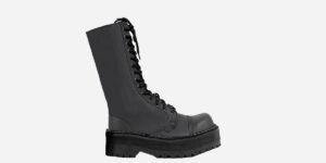 Underground Original Steel Cap Ranger Black vegan leather friendly calf length combat boot for men and women