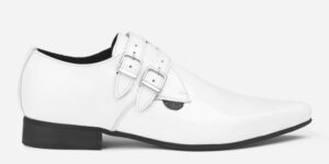 Underground England Howard Winklepicker white patent leather 2 strap shoe for men and women