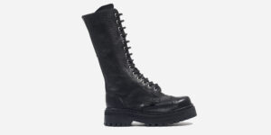 UNDERGROUND ENGLAND ORIGINAL RANGER STEEL TOE CAP LACE UP BOOTS IN BLACK TUMBLED LEATHER FOR MEN AND WOMEN