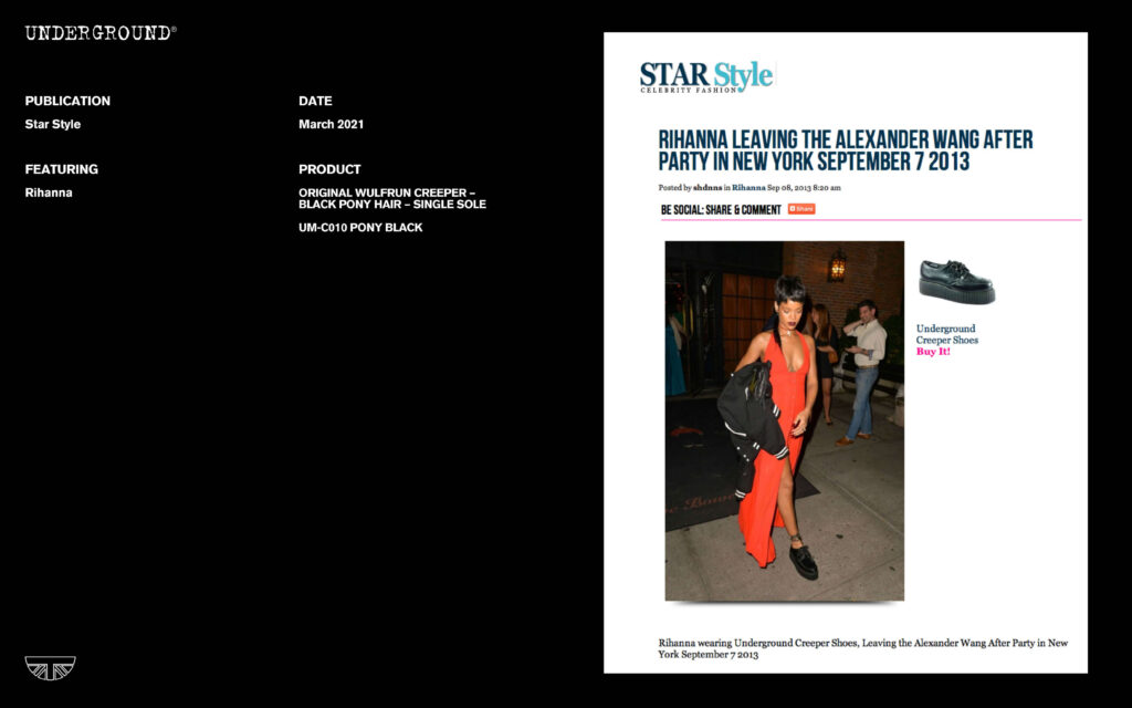 Press Features Gallery - Artists UM-C010 PONY BLACK Rihanna