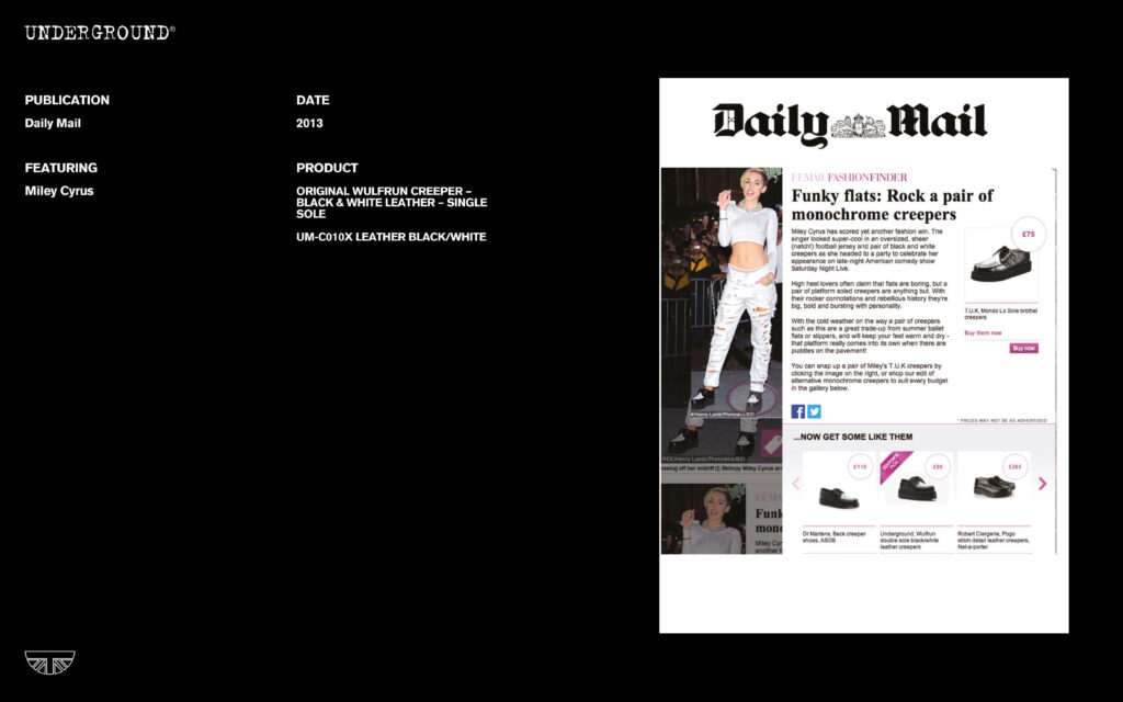 Press Features Gallery - Artists UM-C010X LEATHER BLACK/WHITE Miley Cyrus