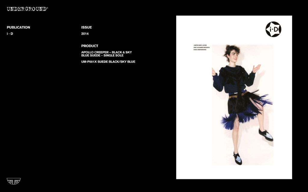 Press Features Gallery - i-D Apollo Creeper Black & Sky Blue Suede Single Sole