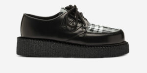 UNDERGROUND ENGLAND CREEPER SHOE IN BLACK LEATHER AND TARTAN MENZIES FOR BOTH MEN AND WOMEN
