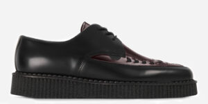 UNDERGROUND ENGLAND BLACK AND BURGUNDY LEATHER SINGLE SOLE CREEPER SHOE WITH LACES FOR MEN AND WOMEN