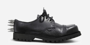 Underground Original spiked Tracker black leather with buffed toe steel toe cap shoe with three eyelets for men and women