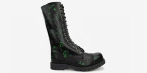 Underground England Green Rub Off Skull 14 eyelet combat steel toe cap boot for both men and women unisex
