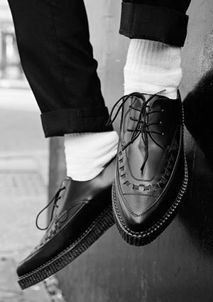 BARFLY SHOE BLACK LEATHER LACE-UP SHOES