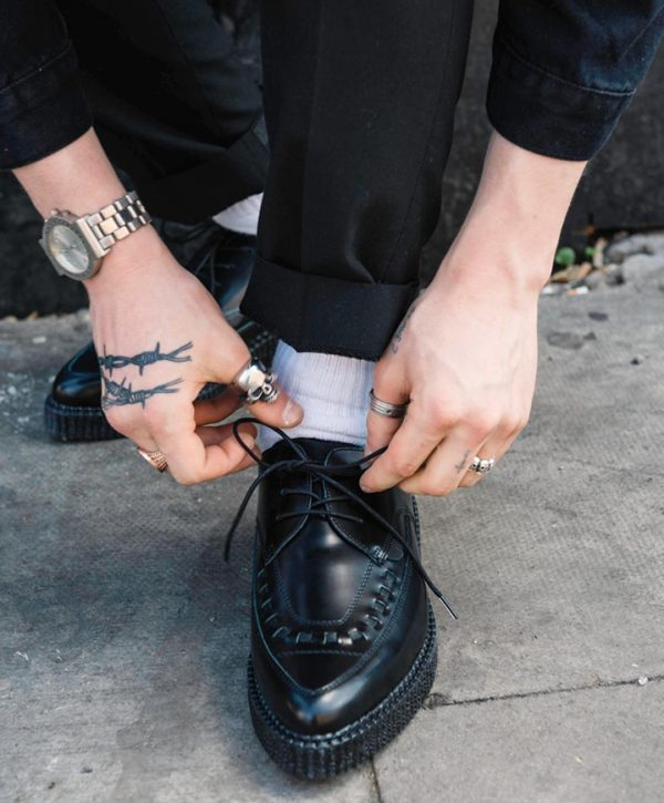 BARFLY SHOE BLACK LEATHER