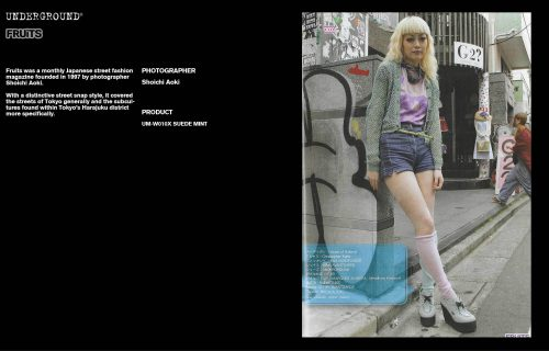Underground Press Features Gallery - Fruits Photographer: Shoichi Aoki Product: UM-W010X SUEDE MINT