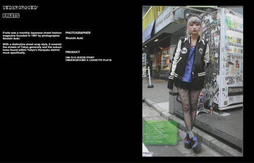 Underground Press Features Gallery - Fruits Photographer: Shoichi Aoki Product: UM-T010 SUEDE/PONY UNDERGROUND X CASSETTE PLAYA