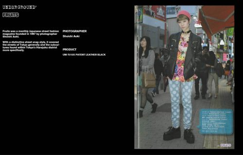 Underground Press Features Gallery - Fruits Photographer: Shoichi Aoki Product: UM-T010X PATENT LEATHER BLACK