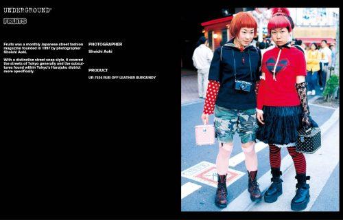 Underground Press Features Gallery - Fruits Photographer: Shoichi Aoki Product: UR-7536 RUB OFF LEATHER BURGUNDY
