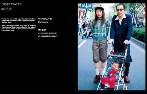 Underground Press Features Gallery - Fruits Photographer: Shoichi Aoki Product: UF-034 SUEDE BURGUNDY UR-7703 LEATHER CHERRY