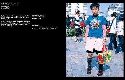 Underground Press Features Gallery - Fruits Photographer: Shoichi Aoki Product: UR-7703 RUB OFF LEATHER BURGUNDY
